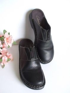 Ladies SZ 9, Clarks Black Leather Clogs $19.50 #eBay