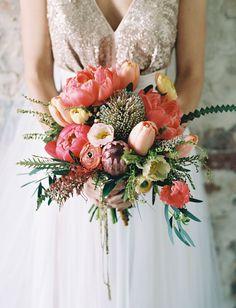 Pink + peach peony bouquet