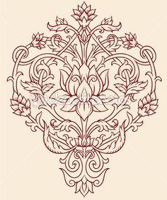 vector de flor de loto Recargado — Ilustración de stock #28960285