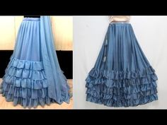 In this video, I will show you the drafting, cutting and stitching of this frill lehenga or ruffle lehenga so that you can easily understand it. Kurti Neck Designs, Lehenga Designs, Kurti Designs Party Wear, Blouse Designs, Sleeve Designs, Baby Dress Design, Frock Design, Ladies Dress Design, Lehenga Skirt