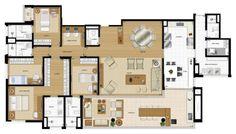 Apartamento tipo de 234 metros quadrados com 4 suítes e 4 vagas