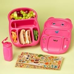 Goodbyn bento lunch boxes with dishwasher-safe stickers for a DIY design. We have two and love them!