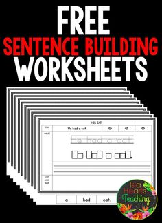 Building Worksheets (FREE) FREE sentence building worksheets for your kindergarten and first grade students!FREE sentence building worksheets for your kindergarten and first grade students! 1st Grade Writing, Teaching Writing, Teaching Handwriting, Handwriting Practice, Sentence Writing, Writing Sentences Worksheets, Making Sentences, Silly Sentences, Sight Word Sentences