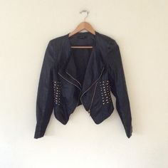 Forever 21 studded moto jacket S Gently worn Forever 21 black gold studded moto jacket S ❌ sorry no trades - price is firm even if bundled ❌ Forever 21 Jackets & Coats