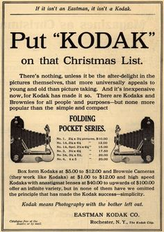 "Kodak's Folding Pocket Series – Put ""Kodak"" on that Christmas List. (1909)"