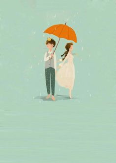 Isso me define! Couple Illustration, Art Et Illustration, Illustrations, Umbrella Art, Under My Umbrella, Free Android Wallpaper, Stock Design, Cute Couple Art, Parasols