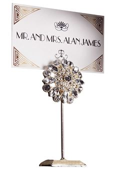 Art Deco place card by Atelier Isabey. Holder by Luna Bazaar--Brides: 1920s-Inspired Wedding Idea that is perfect for the Vanity Fair Theme.