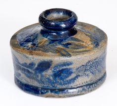 Very Rare Stoneware Inkwell with Profuse Cobalt Floral Decoration, Baltimore, circa 1825 -- Lot 387 -- October 22, 2016 Stoneware Auction -- Crocker Farm, Inc., $4312.50.