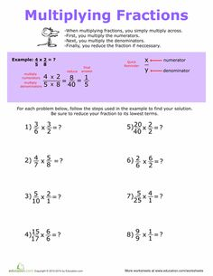 Worksheets: How to Multiply Fractions