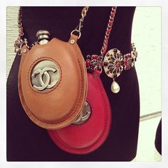 chanel flasks.. These are adorable, even tho I would fill them with water!!