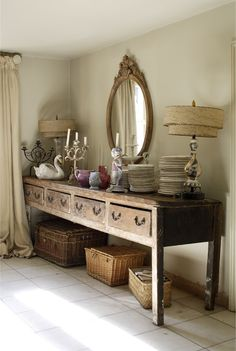 A vintage side board makes a great addition to the living room #home #decor