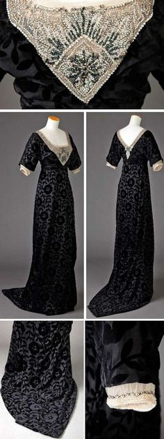 Evening dress, ca. Black silk voided velvet with large floral and leaf motifs. Low square neckline in front; Neckline outlined with ecru net solidly covered with silver, black, and white beads and rhinestones. Edwardian Clothing, Edwardian Dress, Antique Clothing, Historical Clothing, Edwardian Era, 1900s Fashion, Edwardian Fashion, Vintage Fashion, Classy Fashion