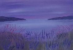 purple, modern seascape and wildflowers painting Art Janet Davies sea harbours landscapes semi abstract realism Landscape Paintings, Painting Edges, Wildflower Paintings, Modern Art For Sale, Seascape, Original Landscape, Hanging Paintings, Top Paintings, Modern Art Abstract