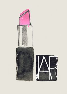 NARS pink lipstick illustration- neat idea for quick decor Illustrations Vintage, Illustration Art, Fashion Illustrations, The Design Files, All Things Beauty, Fashion Sketches, Pretty In Pink, Perfect Pink, Nars