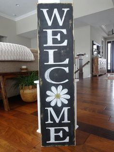 Welcome sign. Welcome wood sign/ Welcome front door sign/ Outdoor Welcome Sign, Welcome Signs Front Door, Wooden Welcome Signs, Front Porch Signs, Wooden Signs, Outdoor Signs, Welcome Home, Painted Signs, Board And Brush