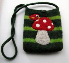 super cute handmade felted bag purse wool pouch handbag by HandmadebyMia on #Etsy