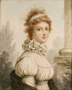 Chemistte and ruff in substantial fabric, very pretty. Richard Cosway (1742–1821) Portrait of Marchioness of Queenston 1788 oil on paper. See link for query on the dating; the style looks about 20 years later than 1788.