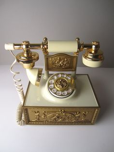 Large Classic Golden French Style Rotary Telephone. $95.00, via Etsy.
