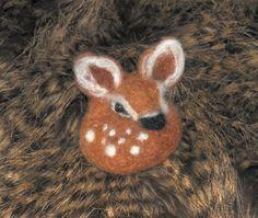 needle felted fawn Pin Brooch Scarf deer от AnimalArtByBarbara