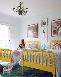 We spent the weekend in my hometown, and Chip and I snuck away for a much needed 24 hour break by ourselves. It's kind of amazing what just… Twin Girl Bedrooms, Girls Bunk Beds, Little Girl Rooms, Girls Bedroom, Neutral Bedroom Decor, Cool Kids Rooms, Transitional Home Decor, Nursery Inspiration, Kid Spaces