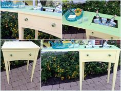Sewing machine cabinet turned ice chest/bar