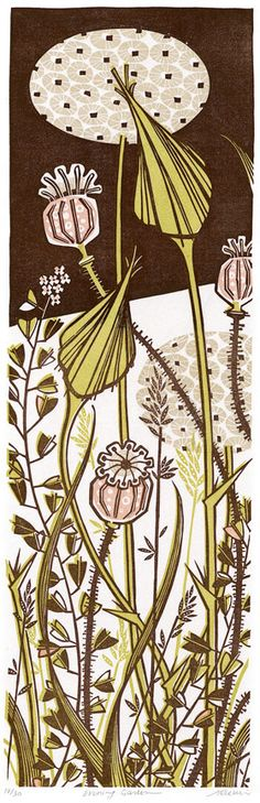 Angie Lewin, print, nature, design, colour, plant, garden, printmaking, illustration, lino, woodcut, linocut thistles