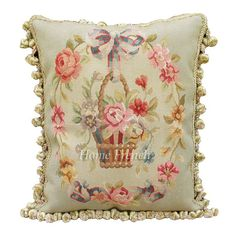 16x20 Subtle Green Aubusson Pillow Blue Ribbon Pink Roses