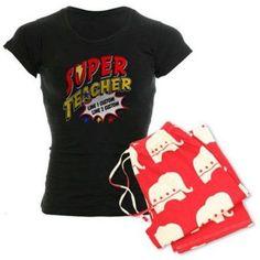 Cafepress Personalized Teacher Super Hero Women's Dark Pajamas, Size: Medium