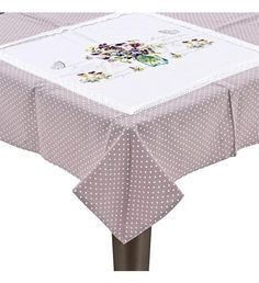 FABRIC TABLE COVER W_PURPLE FLOWER 90X90