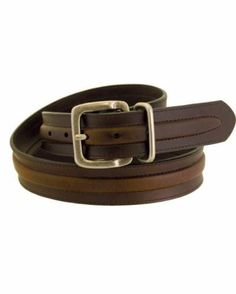 Men's Rugged Wear Belt 1 1/2 Inch Heavy Oil Tanned Leather Raised Middle