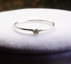 Medium-Chub Sterling Silver Stacking Rings with 2mm Diamond