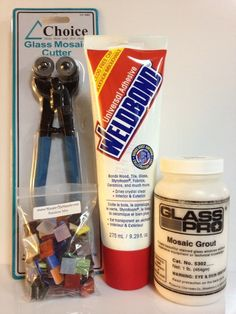 "In this kit you will receive:  (1) Mosaic Glass Cutters / Nippers (2-wheel tip style), $22.99  (1) 9-oz. tube of Weldbond glue, $9.99  (1) 1-lb jar of powder grout, $6.99 (Raven Black, Ivory, Sage Green or Summer Wheat - your choice.)  (1) 100 Mixed 1/2"" x 1/2"" tiles (Color mix your choice), $5.99"
