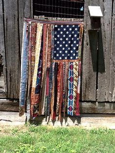 Boho Southwestern ethnic flag beaded curtain by TheSleepyArmadillo Patriotic Crafts, Patriotic Decorations, Patriotic Party, July Crafts, Cortinas Boho, Old Ties, Flag Art, Beaded Curtains, Fabric Strips