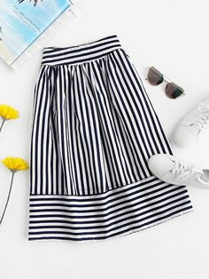 Striped Elastic Waist Skirt skirt skirt skirt skirt outfit skirt for teens midi skirt Modest Outfits, Skirt Outfits, Modest Fashion, Hijab Fashion, Dress Skirt, Casual Outfits, Fashion Dresses, Hijab Styles, Cute Skirts
