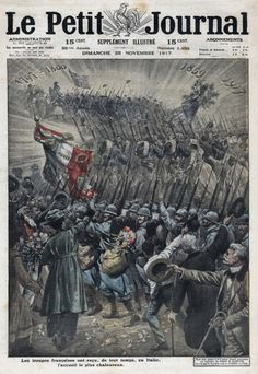 World War I The French Troops warmly welcomed in Italy. Frontpage of French newspaper Le petit journal November 25, 1917.