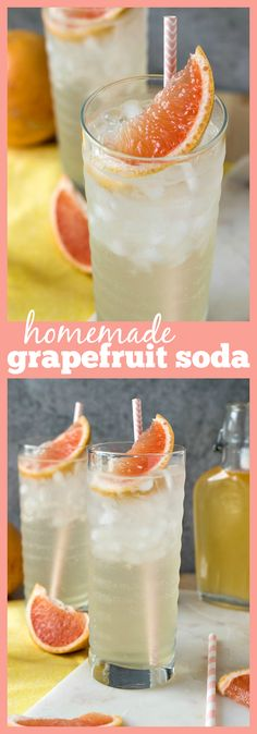 Homemade Grapefruit Soda – Homemade grapefruit syrup is added to sparkling water and finished with crushed ice and a pink straw to make the perfect refreshing drink #drinks #recipes #grapefruit #soda #homemade #summer