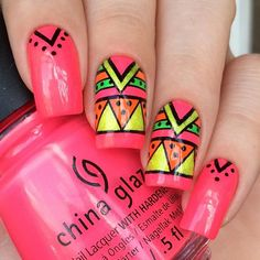 This stamping plate of 12 intricate designs to choose from to give you Aztec nails. Beautiful nails by regina_arg