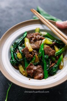 Oyster Beef with Chinese Broccoli China Sichuan Food Chinese Broccoli Recipe, Broccoli Recipes, Broccoli Beef, Pork Belly Recipes, Beef Recipes, Cooking Recipes, Easy Chinese Recipes, Asian Recipes, Thai Recipes