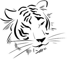 Tiger's head drawing vinyl sticker. Customize on line. Animals Insects Fish 004-1330