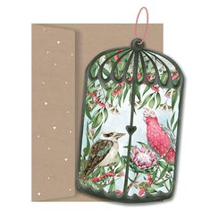 Australian Aviary Paper Ornament Card by Lilly Perrott for La La Land Paper Ornaments, Christmas Ornaments, Greeting Card Shops, Online Gifts, Christmas Time, Holiday Decor, Cheer, Home Decor, La La Land