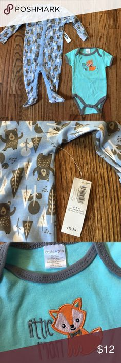 Woodland Themed Baby boy Bundle One 6-9 Month Footie Pajamas Old Navy NWT but does have a bit of an odd smell to them that would probably come out with first wash & One 3-6 Month Fox Onesie with no tags (Cutie Pie brand) Old Navy One Pieces