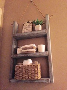 Rustic bathroom shelf with rope by JTThomasWoodworking on Etsy