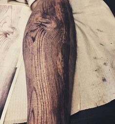 Woodgrain Sleeve Tattoo by David Allen in Chicago, Illinois