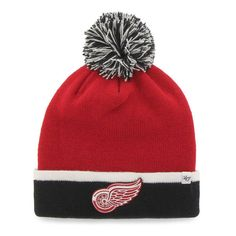 Detroit Red Wings 47 Brand Red Black Baraka Knit Cuffed Poofball Beanie Hat  Cap 15bb400fdf16