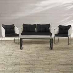 Mercury Row Arctarus 4 Piece Deep Seating Group with Cushions
