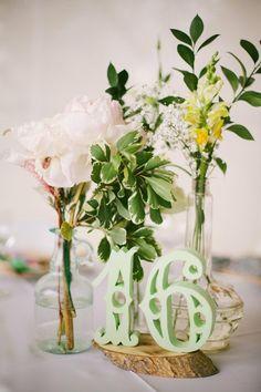 table numbers & flowers