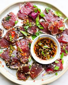 Low Unwanted Fat Cooking For Weightloss Ahi Tuna Tataki Ahi Tuna Steak Recipe, Tuna Steak Recipes, Tuna Steaks, Fish Recipes, Seafood Recipes, Asian Recipes, Appetizer Recipes, Cooking Recipes, Fresh Tuna Recipes