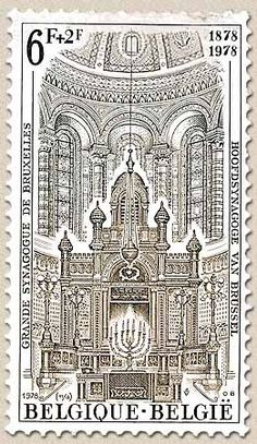 Belgian stamps Solidarity.100 anniversary of Synagoge in Brussel