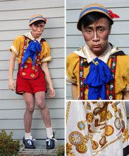 Vintage Silk Scarf, Vintage Deer Broach, Diy Wood Grain Tights - Halloween: a real boy - K'  Luu