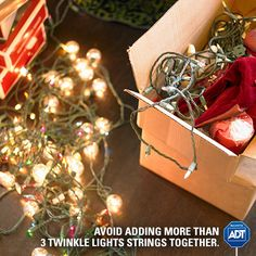Too many lights strung together could pose a #danger - be mindful of overloading electrical sockets. #HappyHolidays #FirePrevention #StaySafe #ADT